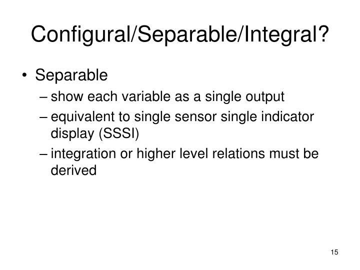 Configural/Separable/Integral?