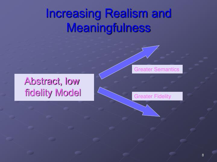 Increasing Realism and Meaningfulness