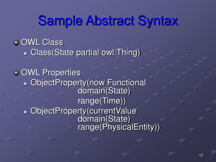 Sample Abstract Syntax