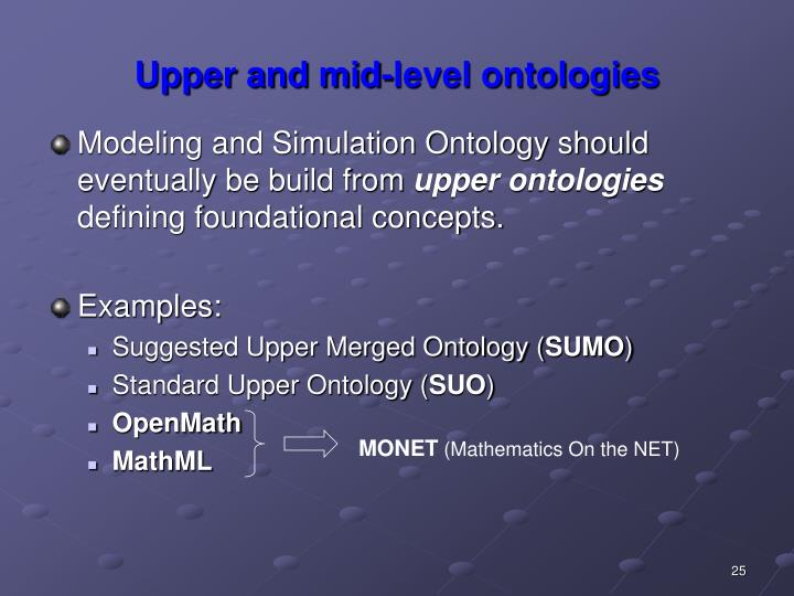 Upper and mid-level ontologies