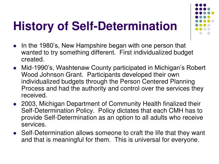 History of Self-Determination