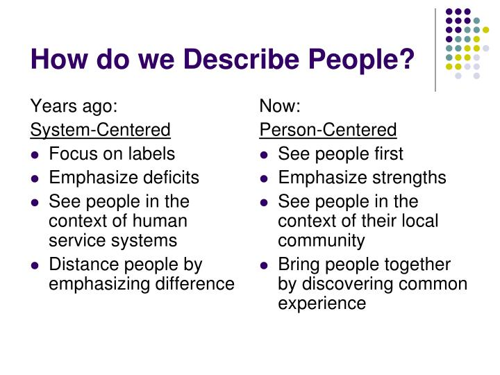 How do we describe people