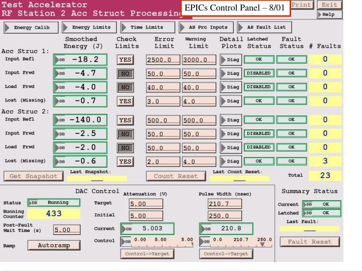EPICs Control Panel – 8/01