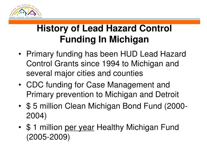 History of lead hazard control funding in michigan