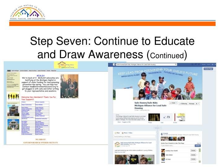 Step Seven: Continue to Educate and Draw Awareness (