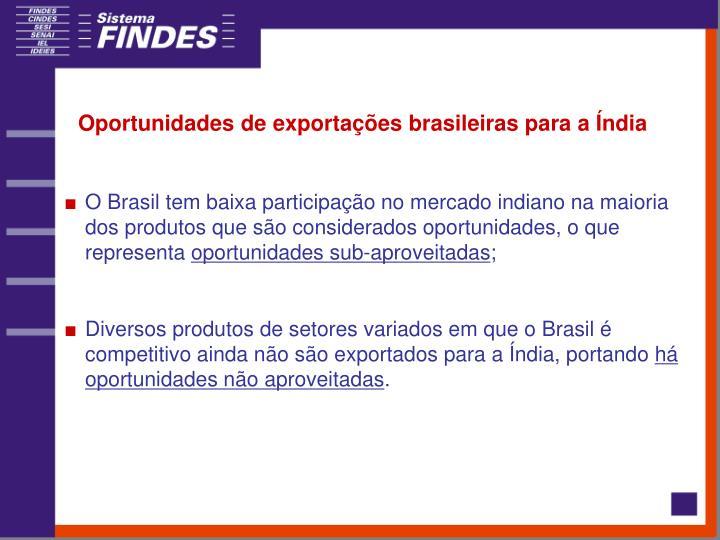 Oportunidades de exportações brasileiras para a Índia