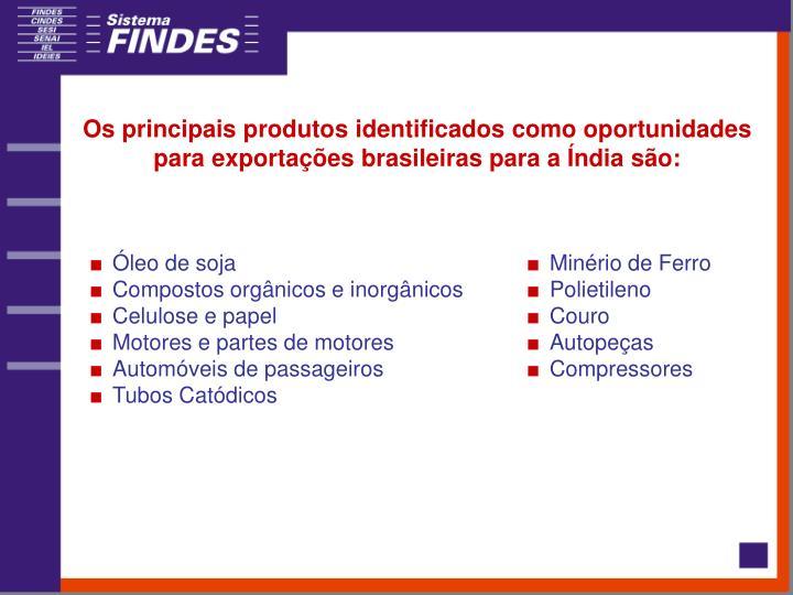 Os principais produtos identificados como oportunidades para exportações brasileiras para a Índia são:
