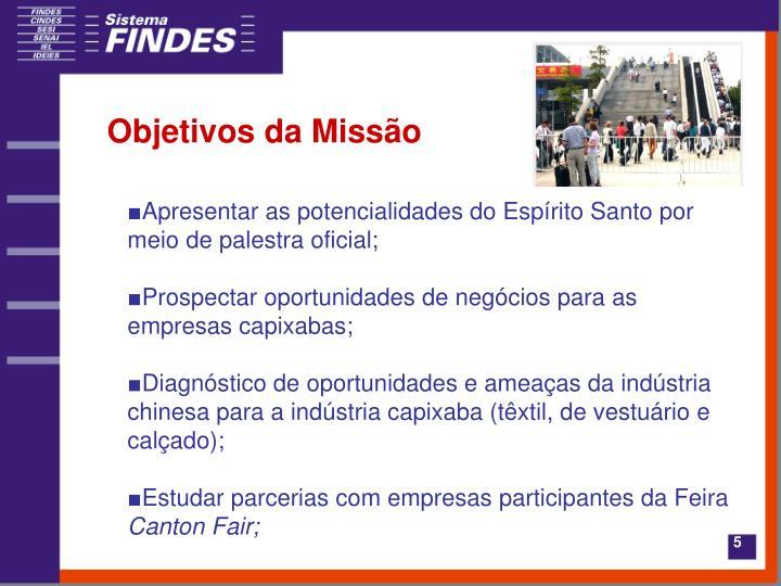 Objetivos da Missão