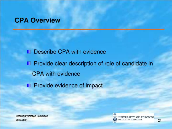 CPA Overview