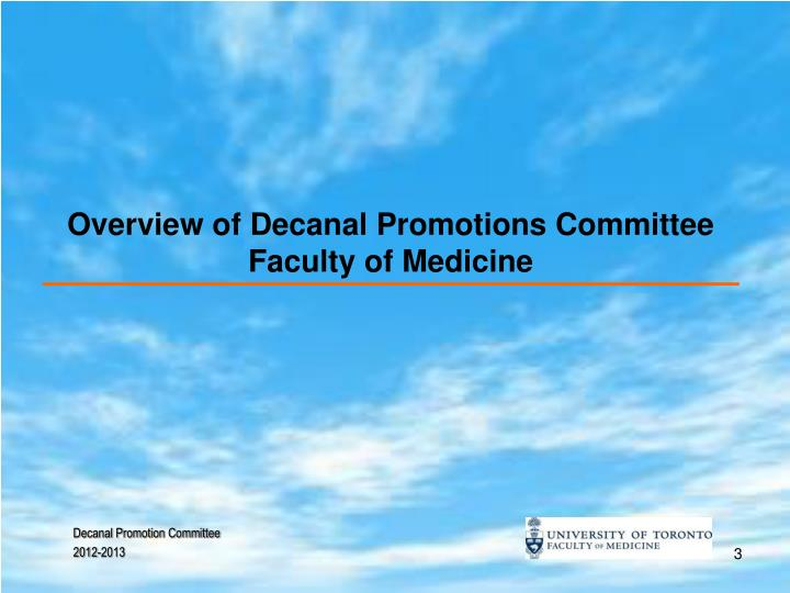 Overview of decanal promotions committee faculty of medicine