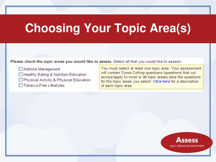 Choosing Your Topic Area(s)
