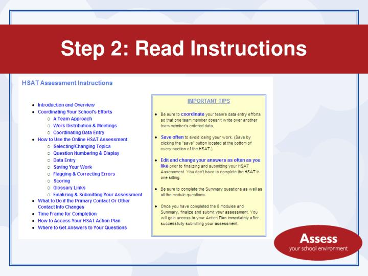 Step 2: Read Instructions