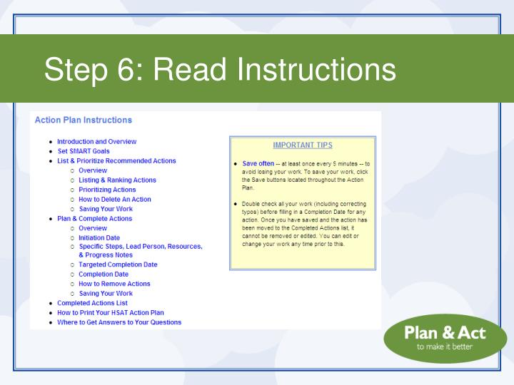 Step 6: Read Instructions