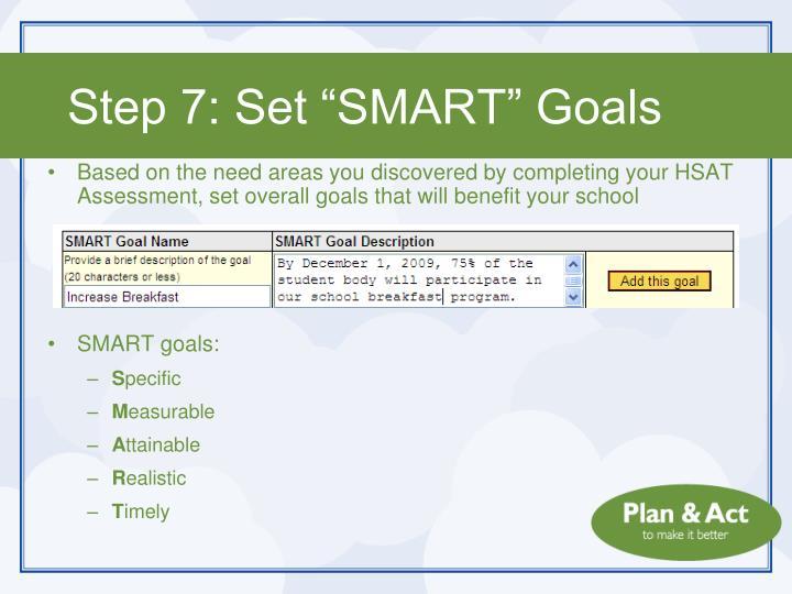 "Step 7: Set ""SMART"" Goals"