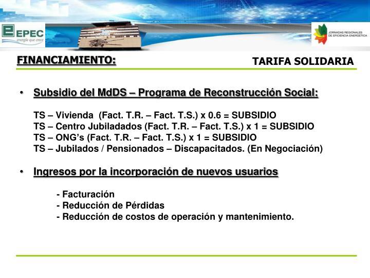Subsidio del MdDS – Programa de Reconstrucción Social: