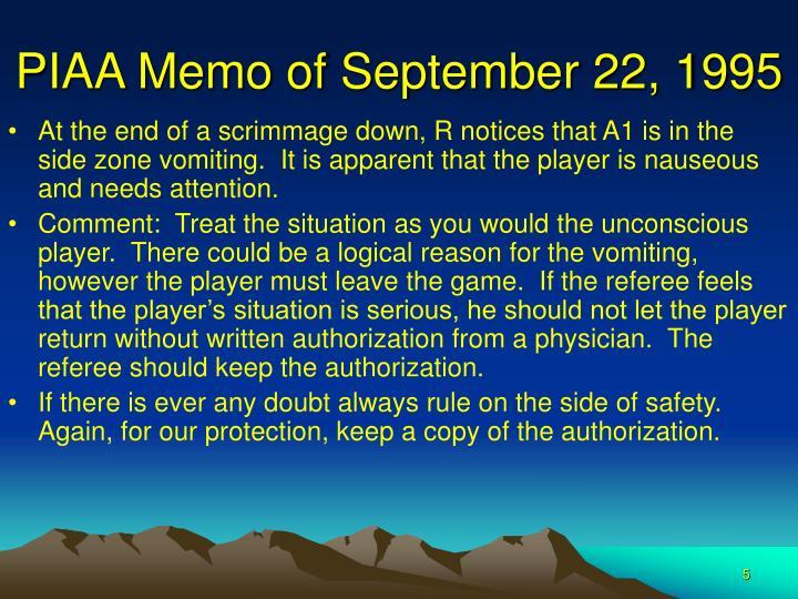 PIAA Memo of September 22, 1995