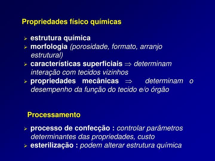 Propriedades físico químicas