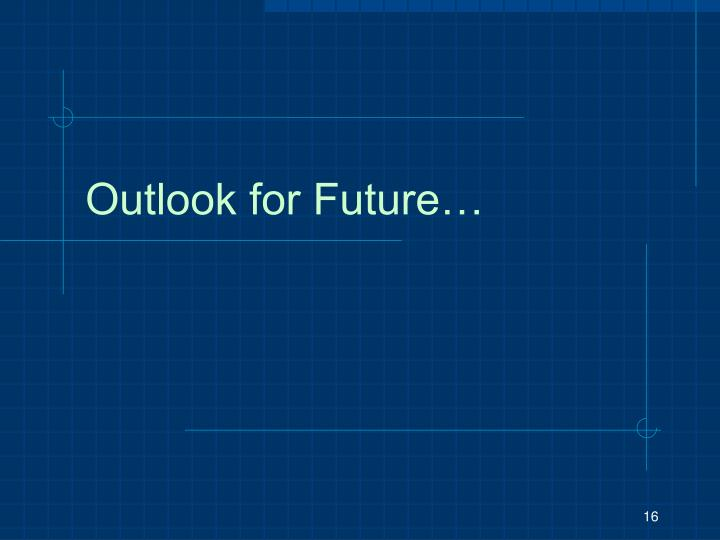 Outlook for Future…
