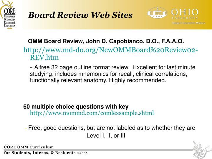 OMM Board Review, John D. Capobianco, D.O., F.A.A.O.