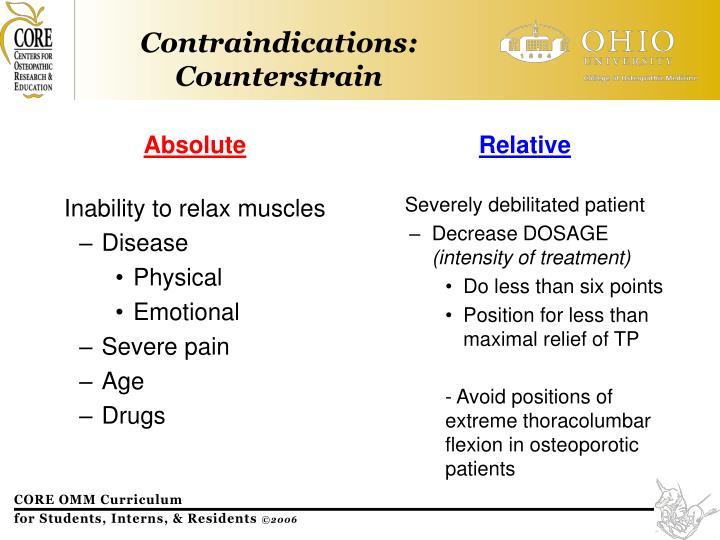Contraindications: Counterstrain