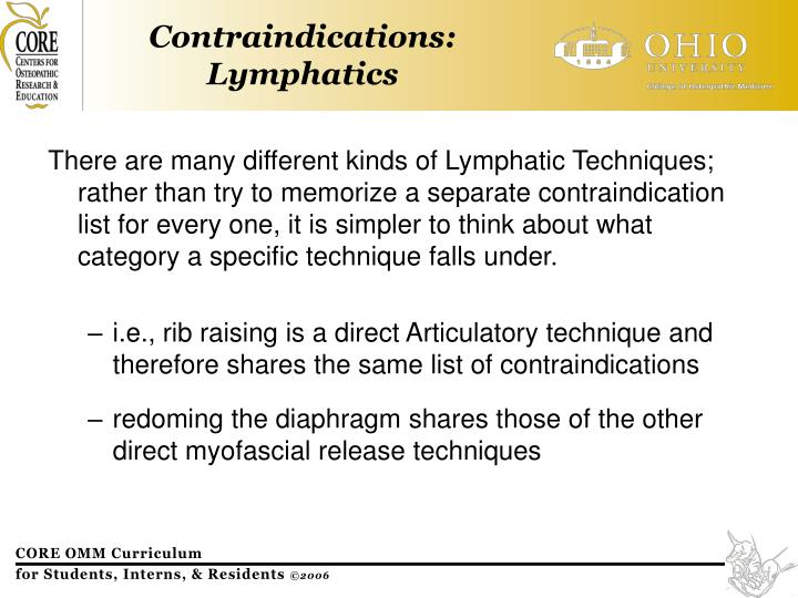 There are many different kinds of Lymphatic Techniques; rather than try to memorize a separate contraindication list for every one, it is simpler to think about what category a specific technique falls under.