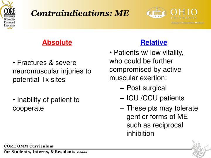 Contraindications: ME