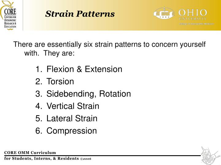 There are essentially six strain patterns to concern yourself with.  They are: