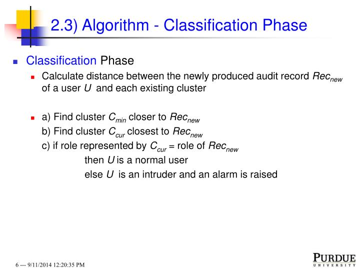 2.3) Algorithm - Classification Phase