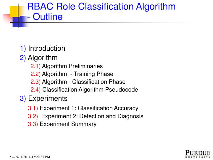 Rbac role classification algorithm outline