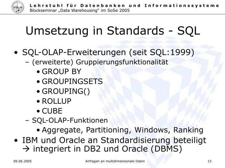 Umsetzung in Standards - SQL