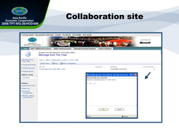 Collaboration site