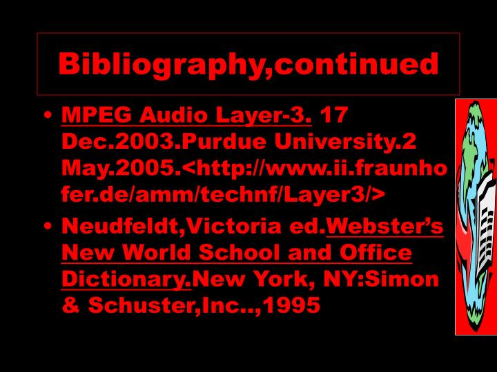 Bibliography,continued