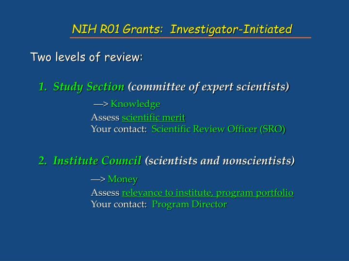 NIH R01 Grants:  Investigator-Initiated