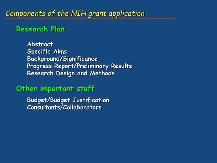 Components of the NIH grant application