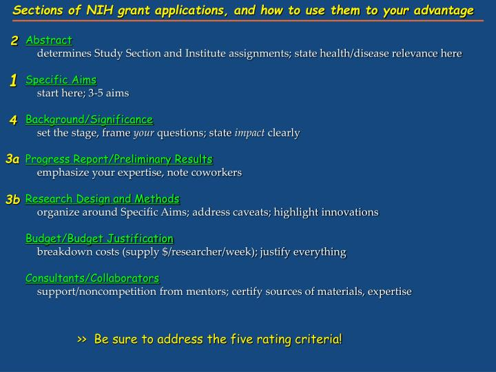 Sections of NIH grant applications, and how to use them to your advantage