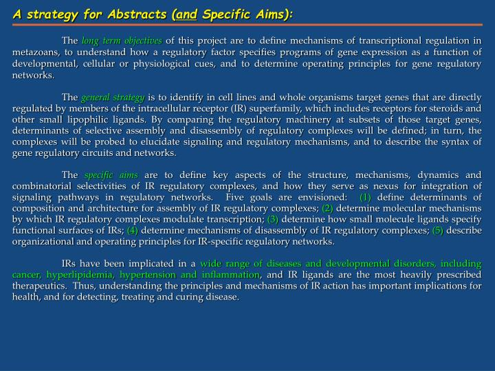 A strategy for Abstracts (