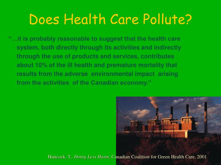 Does health care pollute