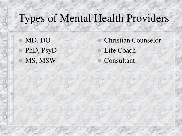 Types of mental health providers