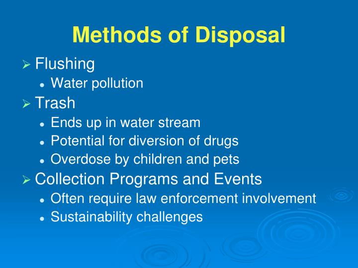 Methods of Disposal