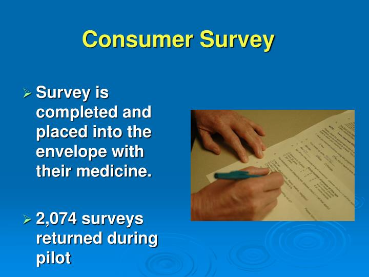 Survey is completed and placed into the envelope with their medicine.