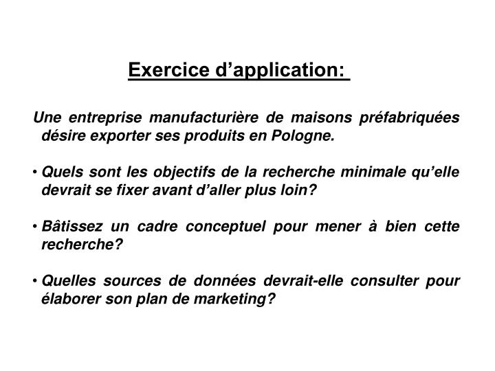 Exercice d'application: