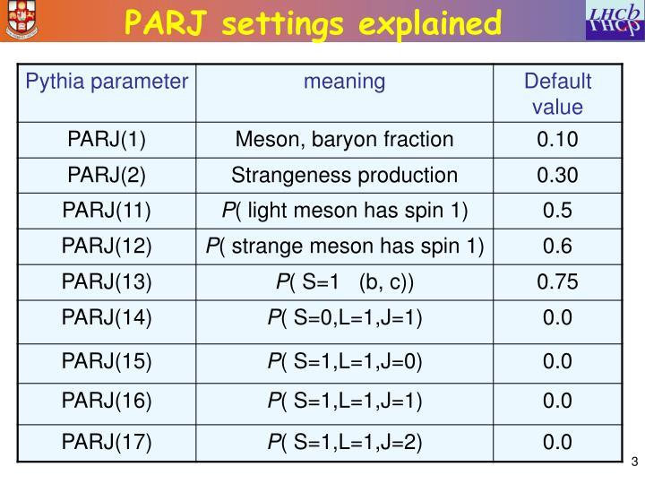 Parj settings explained