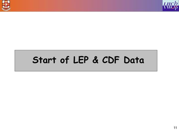 Start of LEP & CDF Data