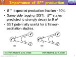 importance of b production
