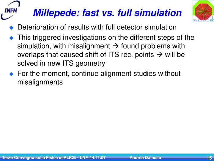 Millepede: fast vs. full simulation