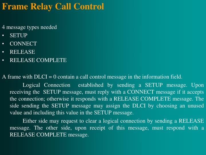 Frame Relay Call Control