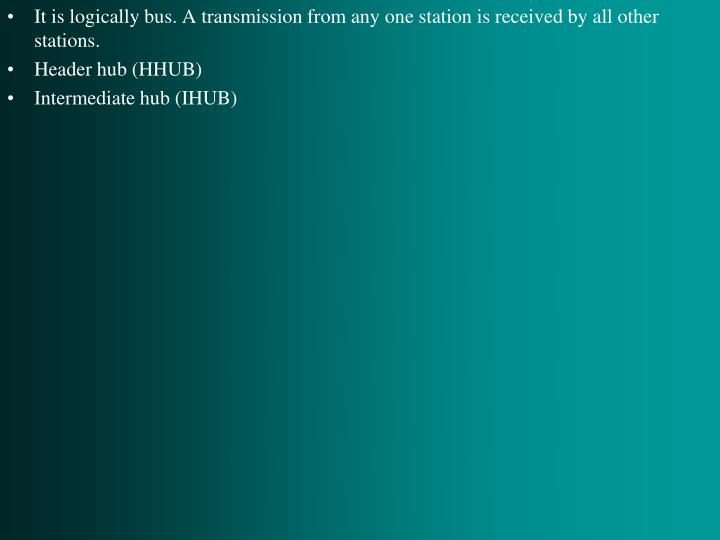 It is logically bus. A transmission from any one station is received by all other stations.