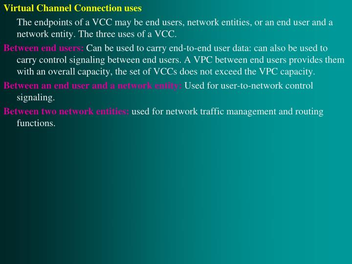 Virtual Channel Connection uses