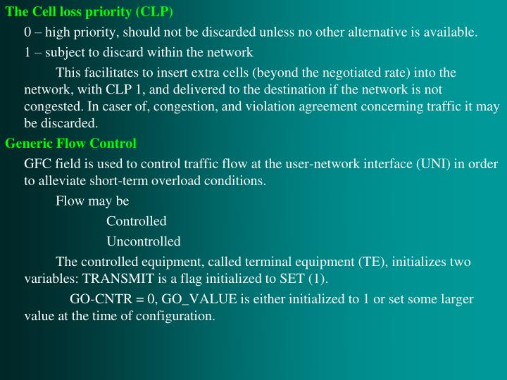 The Cell loss priority (CLP)