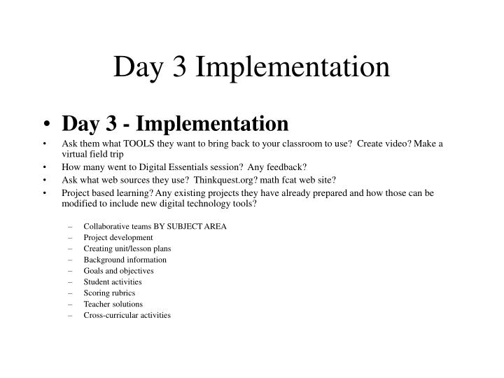 Day 3 implementation